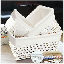 WHITE WICKER STORAGE BASKET GIFT HAMPER WITH LINING SMALL MEDIUM LARGE LAUNDRY