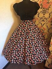 Florence Black Vintage Flowering Hearts Full Circle 50's Alternative Skirt