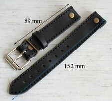 20mm PILOT STRAP with RIVETS OPEN f FIXED LUGS AVIATOR WW STYLE sturdy BAND