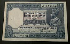 10 rupees note British India George v rare sign. jb Taylor