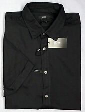 NWT $145 Hugo Boss Regular Fit Black SS Shirt Mens  XL Short Sleeve Dyed NEW