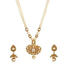 9blings New Bridal Style Pearl Kundan CZ Copper Gold Plated Necklace Set O120208