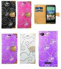 Bling Diamond Flip Leather Wallet Stand Case Cover For Various LG Mobile Phones