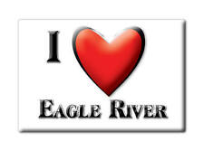 SOUVENIR USA - ALASKA FRIDGE MAGNET I LOVE EAGLE RIVER (ANCHORAGE COUNTY)