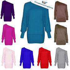 WOMENS BATWING PLUS SIZE BAGGY TOP JUMPER JERSEY LADIES LONG SLEEVE PLAIN 8-26