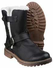 Divaz Nardo Faux Fur Mid Calf Womens Black Pull On Fashion Boots Shoes UK3-8
