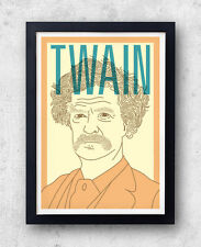 Twain Print! Mark Twain Poster, America, Adventures of Huckleberry Finn, Sawyer