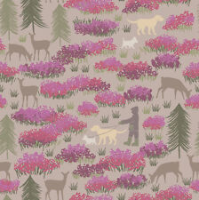 Lewis and Irene Scottish Highlands with Dogs in the Glen, Cotton Fabric