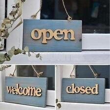 Retro Wooden Board Plank Plaque Cafe Restaurant Window Closed/Welcome/Open Sign