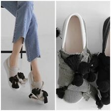 Oversize Bow Linen Jersey with Pom Pom Fringe Slip-Ons Loafers Sneakers Slippers