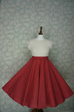 VINTAGE 80s 50'S Circle SKIRT, SWING SKIRT, RED, SPOTTY, PIN UP, 32""