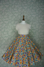 VINTAGE 80s 50'S Circle SKIRT, SWING SKIRT, YELLOW, FLORAL, PIN UP, 32""