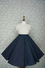VINTAGE 80s 50'S Circle SKIRT, SWING SKIRT, NAVY, FLORAL, PIN UP, 32""