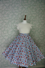 VINTAGE 80s 50'S Circle SKIRT, SWING SKIRT, DORAEMON CHARACTER, PIN UP, 33""
