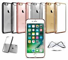 "Apple iPhone 7 (4.7"") - Clear Gel Electroplated Chrome Bumber Case"