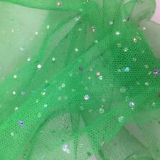 Emerald Green Spangle Diamante Dress Net Tulle Sequins Fabric Material Tutu 150