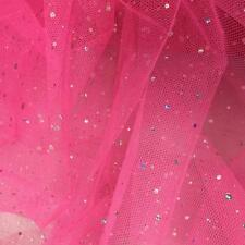 Rose Pink Spangle Diamante Dress Net Tulle Sequins Fabric Material Tutu 150cm