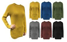 Womens Ladies Plain Baggy Jumper Dress Chunky Sweater Knitted Loose Fit Long Top