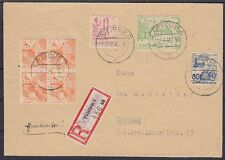 Cottbus Mi Nr. 3 4er Block, 5, 8, 16 MIF R- Brief, gel. in Cottbus 12.03.1946