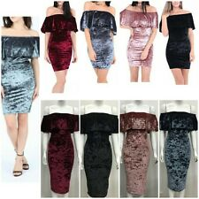 New Ladies Women Off Shoulder Bardot Ruffle Frill Velvet Bodycon Mini Midi Dress
