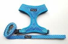 dog harness & lead set blue polka dot dotty soft mesh padded wagytail new