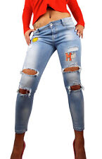 Damen Skinny ripped Jeanshose Stretch Applikation Smiley zerrissen destroyed neu