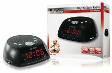 LCD Display (Red) Alarm Clock Radio AM FM Snooze Black Colour Mains
