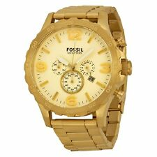 Fossil Nate JR1479 Mens Gold Dial Analog Quartz Watch with Stainless Steel Strap