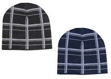 Mens Beanie Hats Winter Warm Hat Beenie Striped Navy Black
