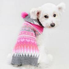 Pet Dog Colorful Hoodie Costume Knit Sweater Coat Apparel Clothing Size XXS-L