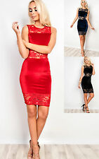 Women's Ladies Stunning Lace Off Shoulder Bodycon Party Dress