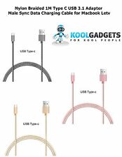 Nylon Braided 1M Type C USB 3.1 Adapter Male Sync Data Charging Cable4 Macbook