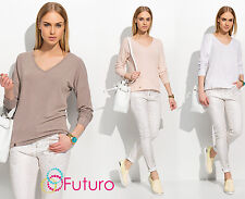 Ladies Casual Loose Fit Top V-Neck Blouse Long Sleeve Pullover Shirt FA504