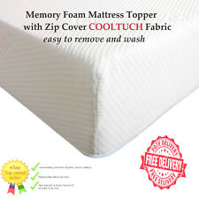 Luxury Orthopaedic Memory Foam Mattress Topper with Zip Knitted Cover cool tuch