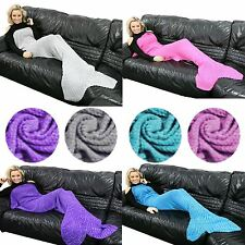 New Knitted SOFT Quilt Lapghan Mermaid TAIL Fish Crocheted Cocoon SOFA Blanket