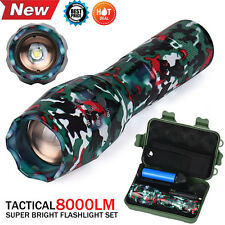New 8000LM G700 X800 XM-L T6 LED Zoomable Tactical Military Flashlight Torch Set