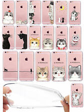 iPhone 6 6S Silicone Souple Transparente Fine Transparent Housse Chats Affaire
