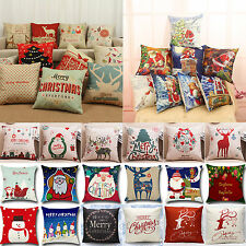 Xmas Merry Christmas Snowman Tree Home Decor Cotton Pillow Cases Cushion Cover