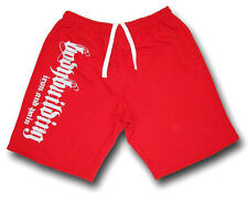 MENS RED BODYBUILDING SHORTS  FITNESS ATHLETIC WORKOUT GYM CLOTHING