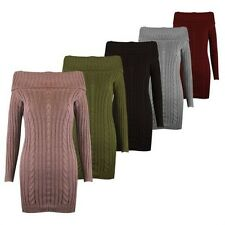 Neuf Pull Robe Femmes Haut Manches Longues Pull Tricot Épais Moulant