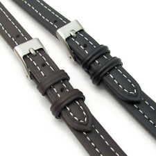 Lightly Padded XL Leather Watch Strap Extra Long Contrast Stitching 12mm 14mm
