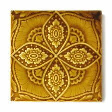 Beautiful Antique English Victorian Majolica Ceramic Tile Floral Embossed Golden