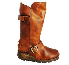 Oxygen Tagus Women's Tan Zip Up Mid Calf Leather Biker Style Buckle Boots New