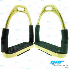 FLEXI SAFETY STIRRUPS HORSE RIDING STAFFE FLESSIBILI TEDESCO ARGENTO GOLDEN