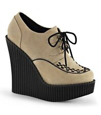 DEMONIA CREEPER-302 Plateau Halbschuh Wedge Beige Punk Büro Party Freizeit Gogo