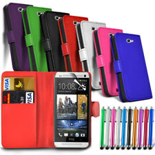 HTC Desire 650 - Leather Wallet Card Slot Case Cover & Stylus