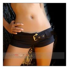 NEW BLACK BUCKLE BOOTY SHORTS SEXY HOTPANTS Hot Pants short clubwear zips belt