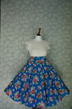 VINTAGE 80s 50'S Circle SKIRT, SWING SKIRT, ROESE, FLORAL, PIN UP, 32""