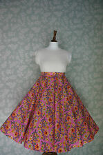 VINTAGE 80s 50'S Circle SKIRT, SWING SKIRT, PINK, FLORAL, PIN UP
