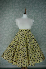 VINTAGE 80s 50'S Circle SKIRT, SWING SKIRT, BUTTERFLIES, PIN UP, 32""